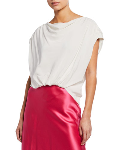 Adriana Silk Cap-Sleeve Ruched Top