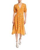 ASTR Oakley Floral-Print Short-Sleeve Tie-Waist Midi Dress
