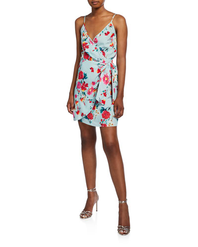 Island Time Sleeveless Floral Wrap Dress