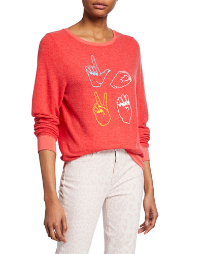 Love Signs Baggy Beach Pullover Sweater