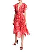 La Maison Talulah Daze Floral-Print Pleated Midi Dress