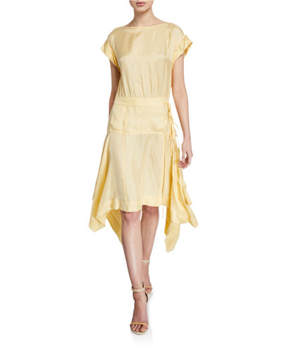 Yarrow Short-Sleeve Asymmetrical Dress