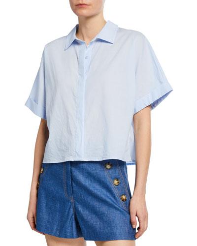 Lemond Button-Front Short-Sleeve Crop Shirting Blouse