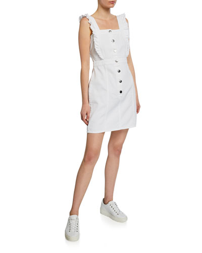 Galia Button-Front Sleeveless Ruffle Denim Mini Dress