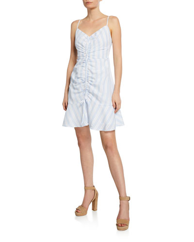 Corsiva Striped Spaghetti-Strap Mini Flounce Dress