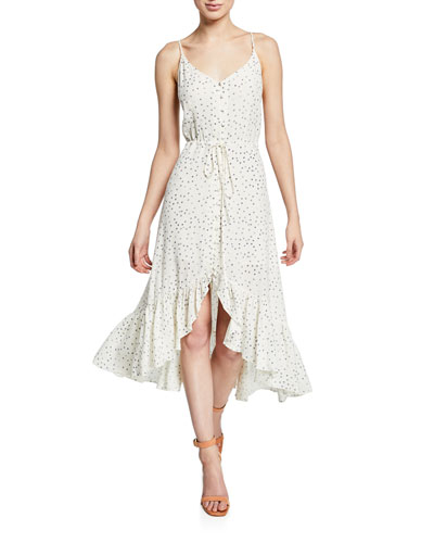 Frida Speckled Midi Flounce Dress