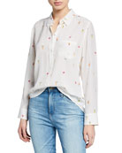 Rails Kate Printed Silk Button-Front Top