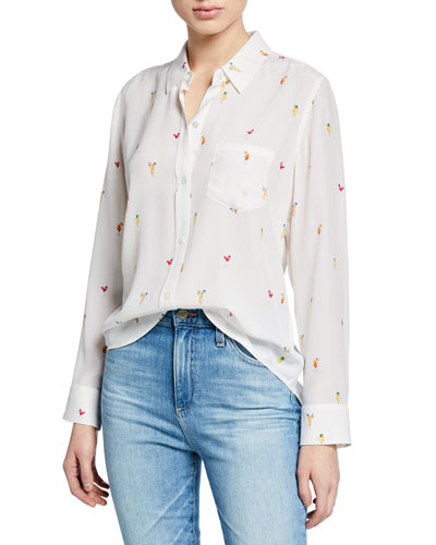 Kate Printed Silk Button-Front Top