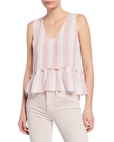 Mira Striped Peplum Sleeveless Top