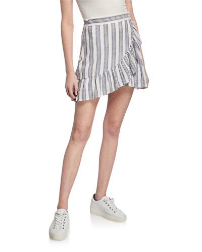 Ruby Striped Mini Ruffle Wrap Skirt