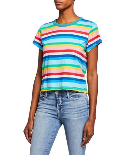 Rainbow-Stripe Short-Sleeve Cotton Tee