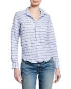 Frank & Eileen Barry Striped Linen-Cotton Long-Sleeve Button-Down