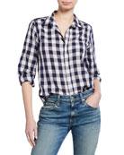 Frank & Eileen Barry Check Button-Down Linen/Cotton Shirt