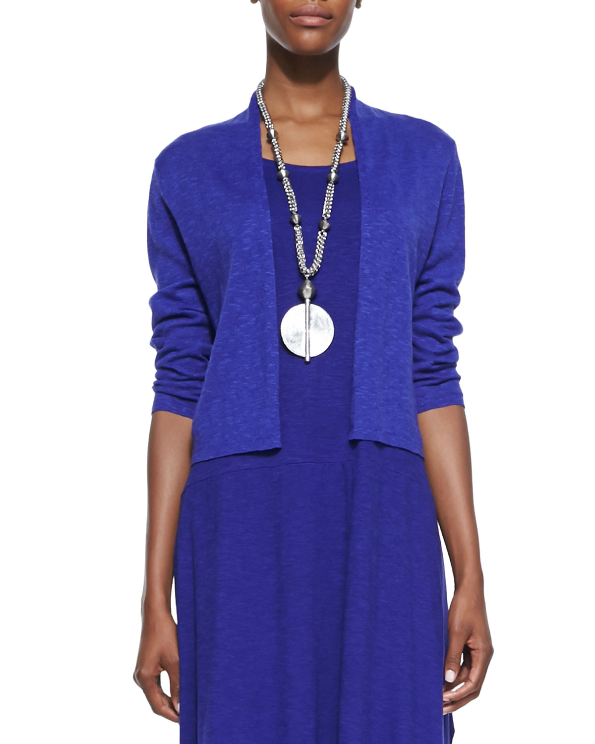 Eileen Fisher Tops PETITE OPEN-FRONT CROPPED STRAIGHT CARDIGAN