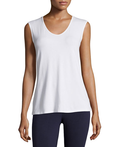 Petite Lightweight Sleeveless Scoop-Neck Tee