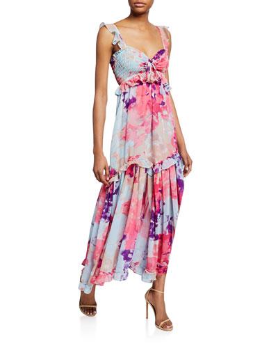 Otavia Printed Sweetheart Sleeveless Ruffle Maxi Dress