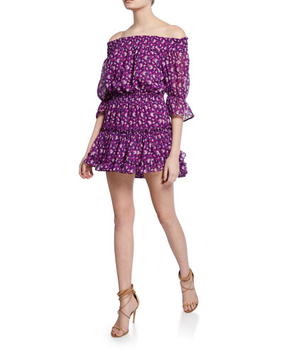 Marisol Printed Off-the-Shoulder 3/4-Sleeve Mini Dress