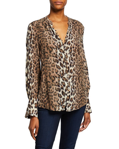 1ad13da2cf9 Quick Look. Joie · Tariana Leopard-Print Button-Front Long-Sleeve Top
