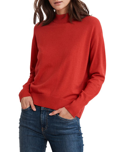 Cotton-Cashmere Mock-Neck Sweater