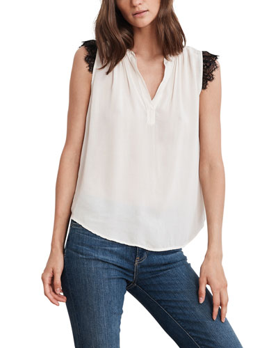 V-Neck Sleeveless Top with Lace Trim