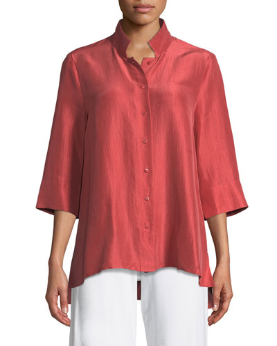 Plus Size 3/4-Sleeve Silk Doupioni Shirt
