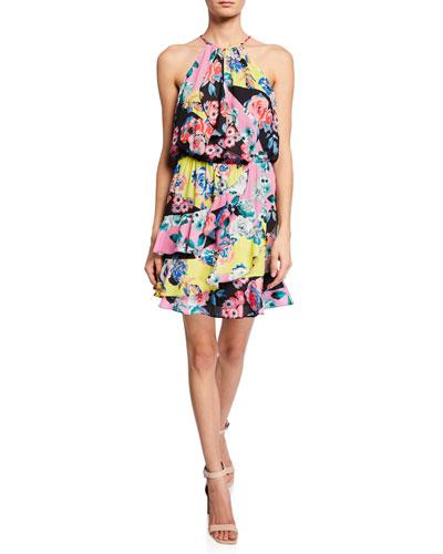 Cosma Floral-Print Mini Ruffle Halter Dress
