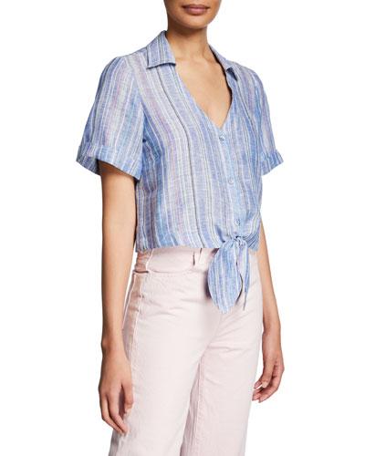 Kit Striped Tie-Front Linen Blouse