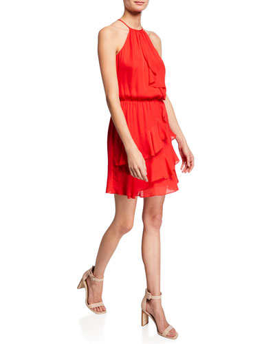 Cosma Halter Mini Ruffle Dress