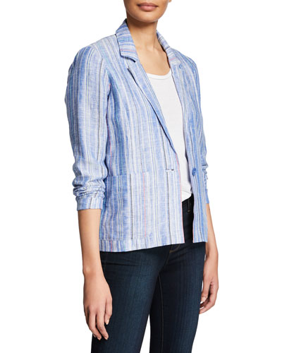Daren Striped One-Button Linen Jacket
