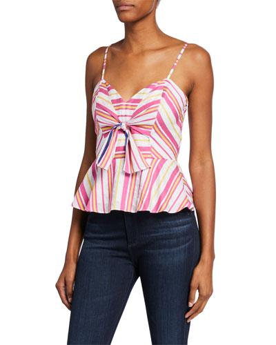 Whitney Striped Tie-Front Sleeveless Peplum Top