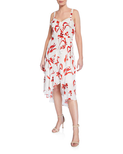 Kathy Ruffled Sleeveless Floral Wrap Dress