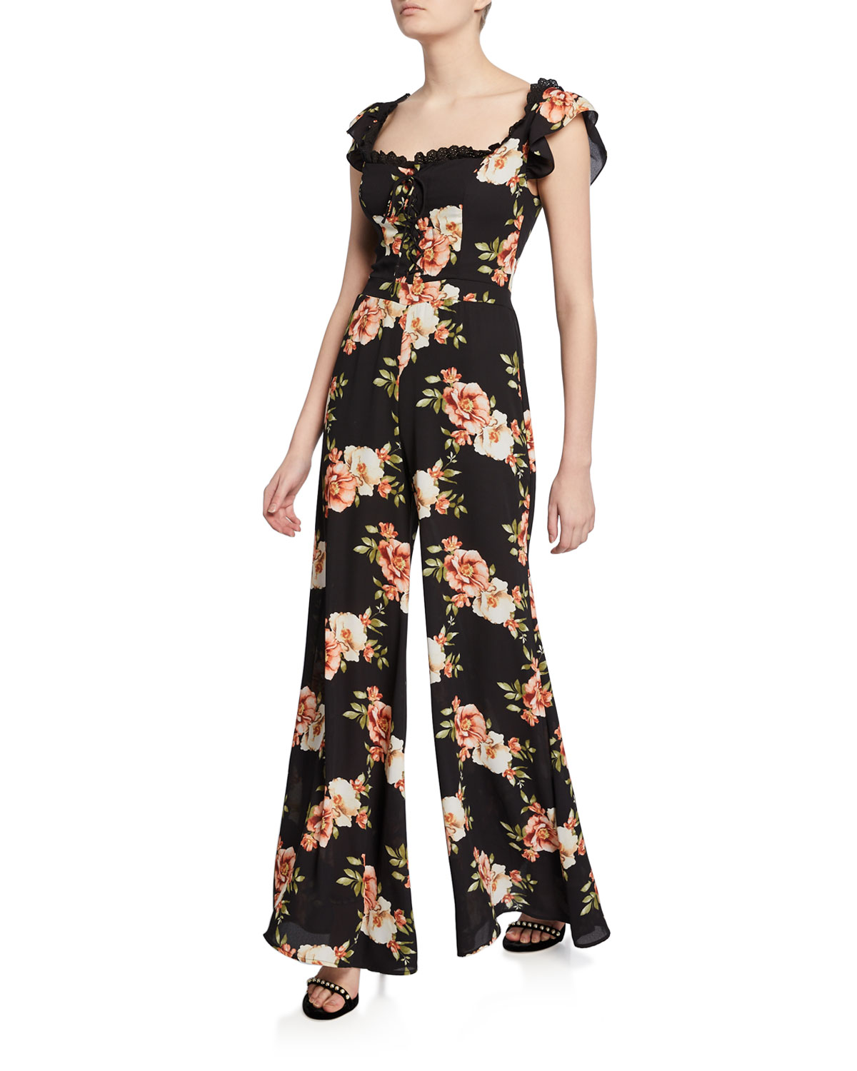 Likely Suits MARLENA FLORAL-PRINT WIDE-LEG JUMPSUIT