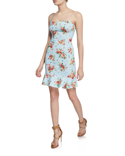 Banks Floral-Print Flounce Dress