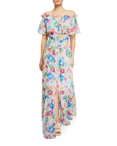 Kona Off-Shoulder Floral Chiffon Split Maxi Dress