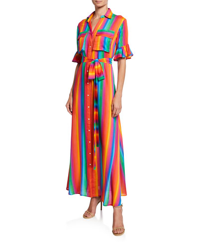 Leilani Striped Button-Front Short-Sleeve Long Shirtdress
