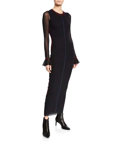 Body-Con Ruffle-Sleeve Dress w/ Contrast Seaming Details