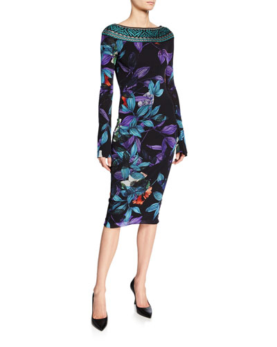 Leaf-Print Bateau-Neck Long-Sleeve Dress