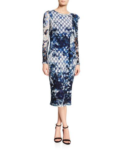 Cascading Ruffle Sheath Midi Dress