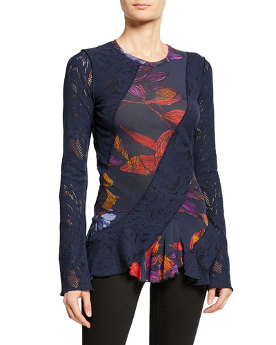 Long-Sleeve Patchwork Lace Top