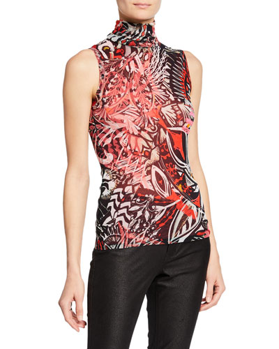 Mystical-Print Sleeveless Turtleneck Top