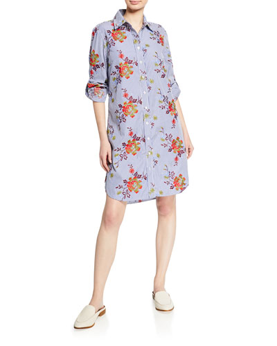 Petite Alex Striped Autumn Floral-Printed Button-Down Long-Sleeve Shirtdress