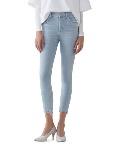 Sophie Parallel High-Rise Cropped Skinny Jeans with Frayed Hem
