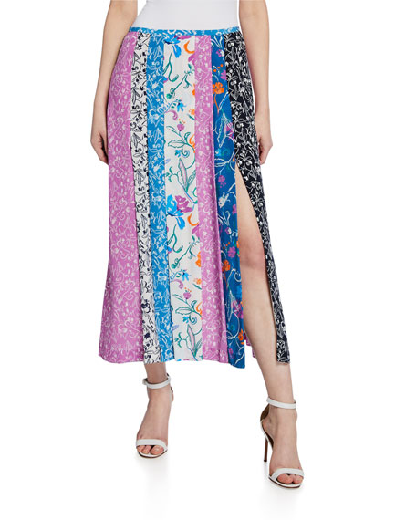 Tanya Taylor Flavia Patchwork High-Slit Skirt