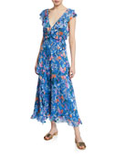 Tanya Taylor Arielle Floral Print Ruffle Dress