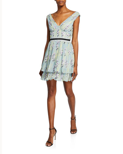 b98bdd24b4d1 Quick Look. Self-Portrait · Floral-Print Chiffon Pleated Ruffle Dress