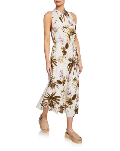Mixed Tropical Garden Halter Maxi Dress