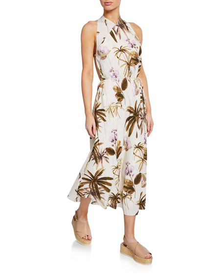 Vince Mixed Tropical Garden Halter Maxi Dress