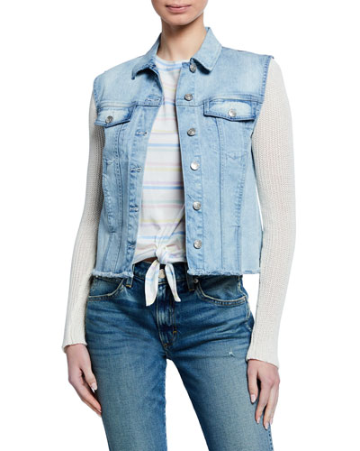Chase Denim Jacket with Knit Sleeves