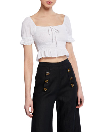Marie Smocked Short-Sleeve Crop Top