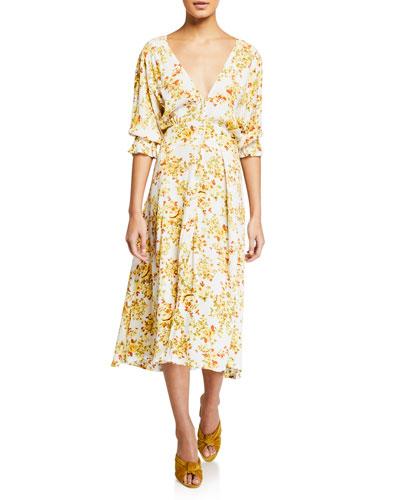 bca352e61afd Yellow Floral Print Dress | Neiman Marcus